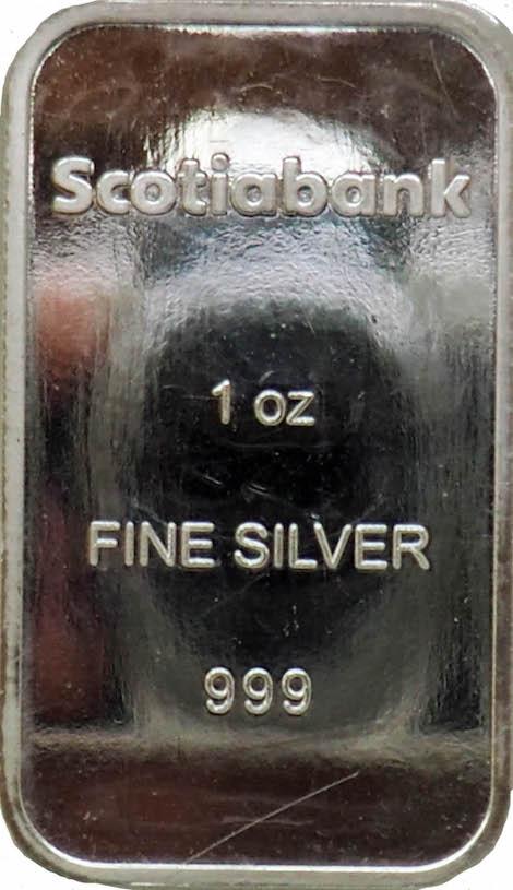 1 Oz Silver Scotiabank Bar - Gold Bars In Canada