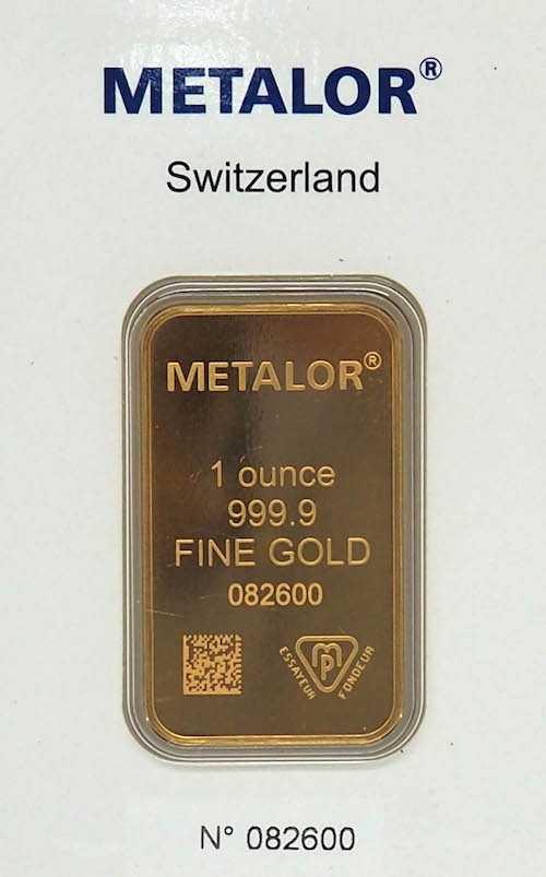 Metalor Switzerland Gold Bar
